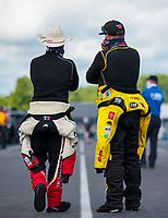 Jul 12, 2020; Clermont, Indiana, USA; NHRA top fuel driver Steve Torrence (left) with Shawn Langdon during the E3 Spark Plugs Nationals at Lucas Oil Raceway. This is the first race back for NHRA since the start of the COVID-19 global pandemic. Mandatory Credit: Mark J. Rebilas-USA TODAY Sports