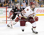 Patrick Brown (BC - 23) - The Boston College Eagles defeated the Northeastern University Huskies 5-4 in their Hockey East Semi-Final on Friday, March 18, 2011, at TD Garden in Boston, Massachusetts.