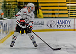 29 December 2018: Northeastern University Huskies Defenseman Jeremy Davies, a Junior from Ste-Anne-de-Bellevue, Quebec, in first period action against the University of Alabama Huntsville Chargers at Gutterson Fieldhouse in Burlington, Vermont. The Huskies shut out the Chargers 2-0 in the Catamount Cup tournament at the University of Vermont. Mandatory Credit: Ed Wolfstein Photo *** RAW (NEF) Image File Available ***