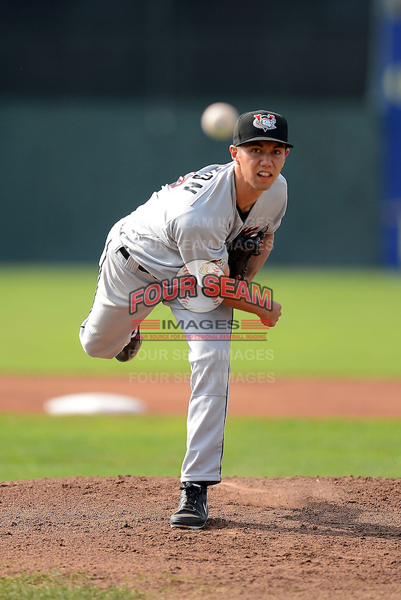 Tri-City ValleyCats pitcher Zach Morton (17) during a game against the Batavia Muckdogs on July 14, 2013 at Dwyer Stadium in Batavia, New York.  Tri-City defeated Batavia 7-0.  (Mike Janes/Four Seam Images)