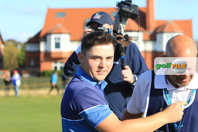 Alex Fitzpatrick (GB&I) wins on the 18th during Day 1 Singles of the Walker Cup at Royal Liverpool Golf CLub, Hoylake, Cheshire, England. 07/09/2019.<br /> Picture: Thos Caffrey / Golffile.ie<br /> <br /> All photo usage must carry mandatory copyright credit (© Golffile   Thos Caffrey)