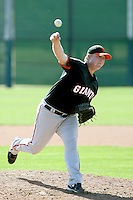 Jason Stoffel of the San Francisco Giants plays in a minor league spring training game against the Arizona Diamondbacks at the Giants minor league complex on March 16, 2011  in Scottsdale, Arizona. .Photo by:  Bill Mitchell/Four Seam Images.