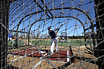 WINSTON-SALEM, NC - MARCH 04: UMass Lowell's Michael Young takes a turn in the batting cage before the game. The Wake Forest University Demon Deacons hosted the UMass Lowell River Hawks on March 4, 2018, at David F. Couch Ballpark in Winston-Salem, NC in a Division I College Baseball game. Wake Forest won the game 14-7.
