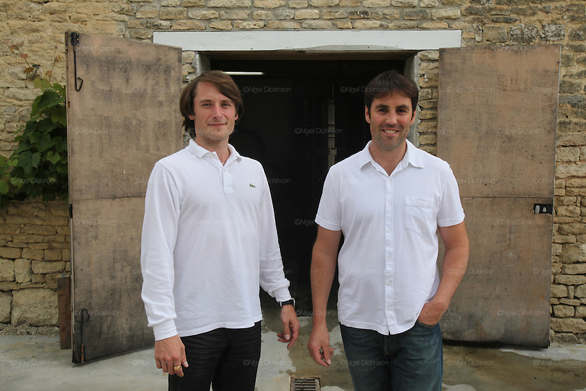 Champagne brand: Dosnon & Lepage. Pictured are Davy Dosnon (LHS), the vigneron, and Nicolas Laugerotte (RHS), sales manager. Avirey-Lingey, Champagne Ardennes, France..A new generation of vignerons around Troyes, city of the Aube, the forgotten region of Champagne, France. These new, but not necessarily young, producers, make Champagnes that are in many ways anti-Champagnes. Where Champagne for a century has made a myth of the art of blending, in which the usual distinctions of terroir, grape and vintage disappear into the house blend, these producers take a Burgundian approach to making Champagne, emphasizing all these qualities that are taken for granted as important in other regions but are largely ignored in Champagne. In a sense they each are a microcosm for larger changes taking place throughout the Champagne region, not just in the Cote des Bars, and for changing perceptions of Champagne on the part of American consumers