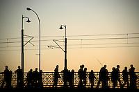 Crossing the Galata Bridge, Istanbul, Turkey
