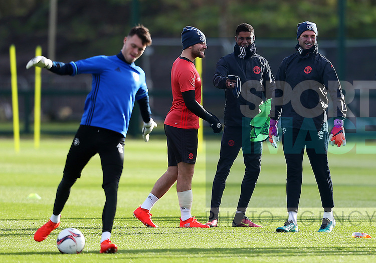 Marcus Rashford of Manchester United shares a joke with Luke Shaw and Sam Johnstone during the UEFA Europa League training session at the AON Training Complex, Manchester. Picture date: November 23rd 2016. Pic Matt McNulty/Sportimage