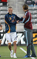 Los Angeles Galaxy midfielder (23) David Beckham and Colorado Rapids defender Kelly Gray prior to an MLS regular season match against the Colorado Rapids at Dicks Sporting Goods Park in Commerce City, Colorado on March 29, 2008. The Rapids defeated the Galaxy 4-0.