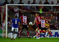 Lincoln City's Jason Shackell blocks a shpt from Everton's Fabian Delph<br /> <br /> Photographer Andrew Vaughan/CameraSport<br /> <br /> The Carabao Cup Second Round - Lincoln City v Everton - Wednesday 28th August 2019 - Sincil Bank - Lincoln<br />  <br /> World Copyright © 2019 CameraSport. All rights reserved. 43 Linden Ave. Countesthorpe. Leicester. England. LE8 5PG - Tel: +44 (0) 116 277 4147 - admin@camerasport.com - www.camerasport.com