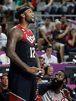 USA's DeMarcus Cousins (l) and James Harden celebrate during 2014 FIBA Basketball World Cup Quarter-Finals match.September 9,2014.(ALTERPHOTOS/Acero)