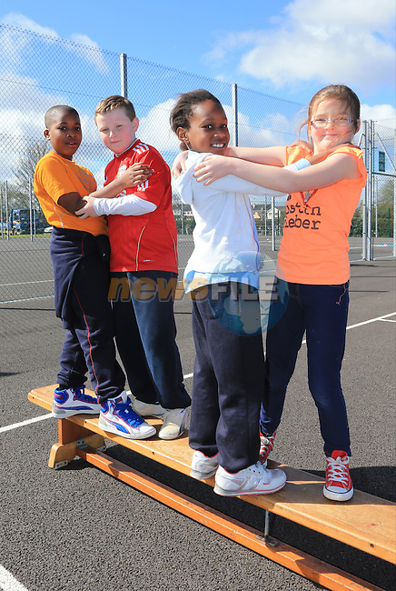 David Nkpa, Luke Hannah,Eseosa Ojekabholo and Kelly Sava.students in St Mary's Parish School taking part in Co-operative Games as part of Louth Primary Schools' Intercultural Week..Picture: Fran Caffrey / www.newsfile.ie ..