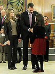 Prince Felipe of Spain and Princess Letizia of Spain attend audiences with a group of children painting competition winners 'Work of Missionary Infancy'.January 9 ,2012. (ALTERPHOTOS/Acero)