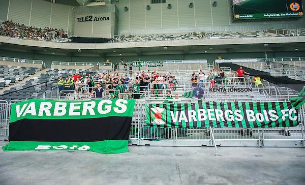 Stockholm 2014-05-24 Fotboll Superettan Hammarby IF - Varbergs BoIS FC  :  <br /> Varbergs supportrar med banderoller <br /> (Foto: Kenta J&ouml;nsson) Nyckelord:  Superettan Tele2 Arena HIF Bajen Varberg BoIS supporter fans publik supporters