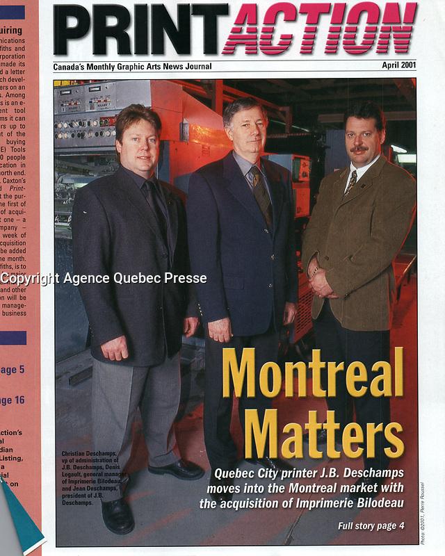 Publication  en couverture de PRINT-ACTION <br /> <br /> Photo : Pierre Roussel