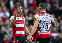 Gloucester Rugby's Henry Trinder with Jason Woodward after the 29-24 victory<br /> <br /> Photographer Ashley Western/CameraSport<br /> <br /> Aviva Premiership - Gloucester v Northampton Saints - Saturday 7th October 2017 - Kingsholm Stadium - Gloucester<br /> <br /> World Copyright &copy; 2017 CameraSport. All rights reserved. 43 Linden Ave. Countesthorpe. Leicester. England. LE8 5PG - Tel: +44 (0) 116 277 4147 - admin@camerasport.com - www.camerasport.com