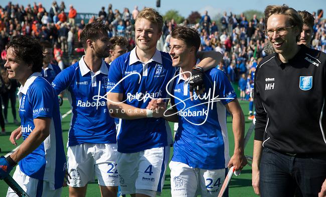 BLOEMENDAAL  -   Vreugde bij Kampong na de gewonnen  play-off wedstrijd heren hoofdklasse Bloemendaal-Kampong (0-2) . Kampong plaatst zich voor de finale.  Martijn Havenga (Kampong), Jip Janssen van Kampong , Pepijn Luijkx (Kampong) ,  Jasper Luijkx (Kampong) , fysio , Matthijs Huinck, COPYRIGHTKOEN SUYK
