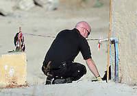 Pictured: Detective Inspector of South Yorkshire Police at the site where the extension of the farmhouse used to be in Kos, Greece. Thursday 06 October 2016<br /> Re: Police teams led by South Yorkshire Police, searching for missing toddler Ben Needham on the Greek island of Kos have moved to a new area in the field they are searching.<br /> Ben, from Sheffield, was 21 months old when he disappeared on 24 July 1991 during a family holiday.<br /> Digging has begun at a new site after a fresh line of inquiry suggested he could have been crushed by a digger.