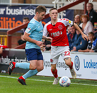 Fleetwood Town's Ashley Hunter battles with Accrington Stanley's Sam Finley<br /> <br /> Photographer Alex Dodd/CameraSport<br /> <br /> The EFL Sky Bet League One - Fleetwood Town v Accrington Stanley - Saturday 15th September 2018  - Highbury Stadium - Fleetwood<br /> <br /> World Copyright &copy; 2018 CameraSport. All rights reserved. 43 Linden Ave. Countesthorpe. Leicester. England. LE8 5PG - Tel: +44 (0) 116 277 4147 - admin@camerasport.com - www.camerasport.com