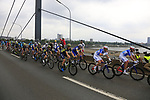 The peloton cross Theodor-Heuss-Bridge over the River Rhine during Stage 2 of the 104th edition of the Tour de France 2017, running 203.5km from Dusseldorf, Germany to Liege, Belgium. 2nd July 2017.<br /> Picture: Eoin Clarke | Cyclefile<br /> <br /> <br /> All photos usage must carry mandatory copyright credit (&copy; Cyclefile | Eoin Clarke)