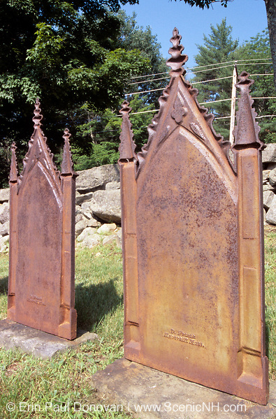 Old weathered steel headstones at Meeting House Cemetery in Danville, New Hampshire USA.
