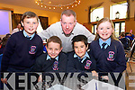 Lorcan Ryan, Brahim Renai, Jack Carney, Eimear O'Sullivan with Teacher Tomas Hanifin, from Lixnaw NS  at the Chapter 23 Credit Union Schools Quiz finals at Ballyroe Heights Hotel on Sunday