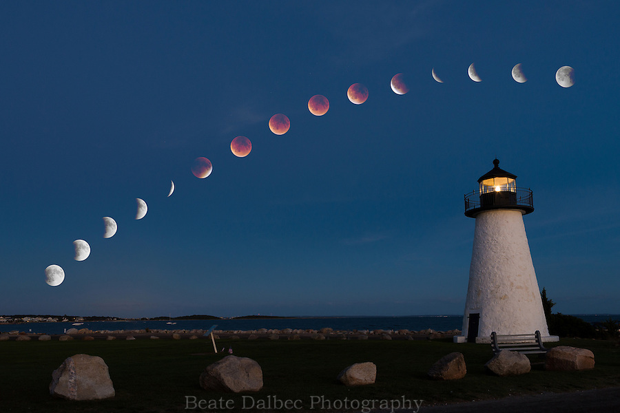 Lunar eclipse track over Ned's Point Lighthouse, Mattapoisett, MA