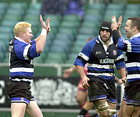 31/01/2004 Parker Pen Challenge Trophy.Bath Rugby v Beziers.Alex Crockett [left] celebrates scoring the opening try with Kevin Maggs as Danny Grewcock watches...   [Mandatory Credit, Peter Spurier/ Intersport Images].
