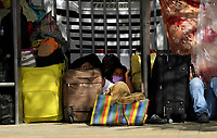 MEDELLÍN, COLOMBIA, MAY 14: A woman Venezuelan migrant want to return to their country, they wait outside the bus terminal in Medellín, Colombia, on May 14, 2020. Migrants hope to have the opportunity to take a bus to the border because to the new pandemic. . from COVID19. (Photo by Fredy Builes / VIEWpress via Getty Images)