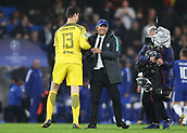 12th September 2017, Stamford Bridge, London, England; UEFA Champions League Group stage, Chelsea versus Qarabag FK; Chelsea Manager Antonio Conte hugs Goalkeeper Thibaut Courtois of Chelsea after the final whistle as the rain continues to come down