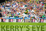 Donnchadh Walsh, Kerry in action against Emmet Bolton, Kildare in the All Ireland Quarter Final at Croke Park on Sunday.