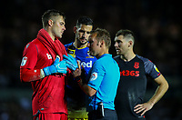 Stoke City's Jack Butland and Leeds United's Kiko Casilla prepare to face penalties<br /> <br /> Photographer Alex Dodd/CameraSport<br /> <br /> The Carabao Cup Second Round- Leeds United v Stoke City - Tuesday 27th August 2019  - Elland Road - Leeds<br />  <br /> World Copyright © 2019 CameraSport. All rights reserved. 43 Linden Ave. Countesthorpe. Leicester. England. LE8 5PG - Tel: +44 (0) 116 277 4147 - admin@camerasport.com - www.camerasport.com
