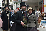 Gerald Charles Dickens and his wife, the great great grandson son of Charles. At the Charles  Dickens Festival. Rochester Kent UK. Behind him is a character impersonation of Charles Dickens. 2012.