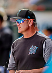 1 March 2019: Miami Marlins Catching Coach Brian Schneider looks out from the dugout during a Spring Training game against the Washington Nationals at Roger Dean Stadium in Jupiter, Florida. The Nationals defeated the Marlins 5-4 in Grapefruit League play. Mandatory Credit: Ed Wolfstein Photo *** RAW (NEF) Image File Available ***