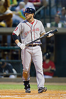 Stephen Drew (7) of the Greenville Drive steps up the plate to bat against the Charleston RiverDogs at Joseph P. Riley, Jr. Park on May 26, 2014 in Charleston, South Carolina.  The Drive defeated the RiverDogs 11-3.  (Brian Westerholt/Four Seam Images)