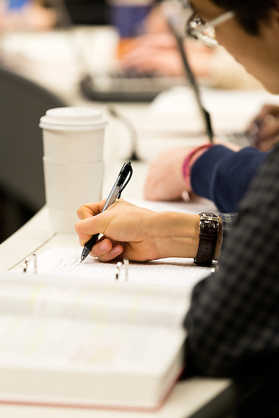 February 23, 2015. Durham, North Carolina.<br />  A student in Professor Joseph Blocher's Property class takes notes.<br />  The Duke University School of Law is considered one of the best law schools in the country.