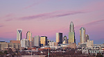 A current 2012 Charlotte, N.C. skyline photo as the sky lights up with color. The skyline of Charlotte, N.C. Is rapidly growing and changing.