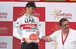 Tadej Pogacar (SLO) UAE Team Emirates wins Stage 9 of La Vuelta 2019 running 99.4km from Andorra la Vella to Cortals d'Encamp, Spain. 1st September 2019.<br /> Picture: Luis Angel Gomez/Photogomezsport | Cyclefile<br /> <br /> All photos usage must carry mandatory copyright credit (© Cyclefile | Luis Angel Gomez/Photogomezsport)