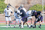 San Diego, CA 05/25/13 - Carrigan Henkel (Westview #9), Kevin Moyer (Carlsbad #3), Teagan Willes (Carlsbad #25) and unidentified Westview player(s) in action during the 2013 Boys Lacrosse San Diego CIF DIvision 1 Championship game.  Westview defeated Carlsbad 8-3.