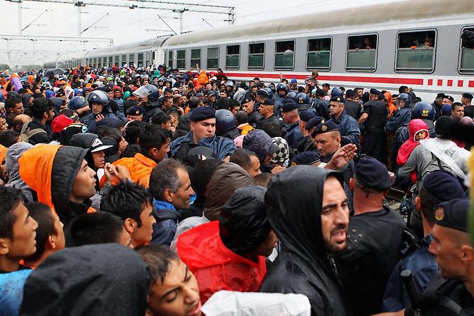 Die kroatische Polizei wollte erreichen, dass Frauen und Kinder zuerst in den Zug Richtung Ungarn kommen. Aber als klar wurde, dass nicht alle mitkommen brach Panik aus. / In Towarnik 20.09.2015. Tovarnik has become new place of gathering of migrants who are trying to reach Western Europe