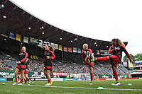 Portland, OR - Saturday, May 21, 2016: Portland Thorns FC players warm up. The Portland Thorns FC defeated the Washington Spirit 4-1 during a regular season National Women's Soccer League (NWSL) match at Providence Park.