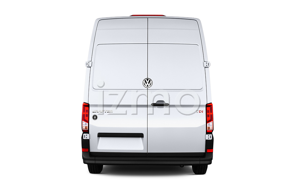 Straight rear view of a 2017 Volkswagen Crafter Base 4 Door Cargo Van stock images