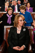 Former Rep. Gabby Giffords, D-Ariz., sits in the chamber before the State of the Union address to a joint session of Congress on Capitol Hill in Washington, Tuesday, Jan. 12, 2016. <br /> Credit: Evan Vucci / Pool via CNP