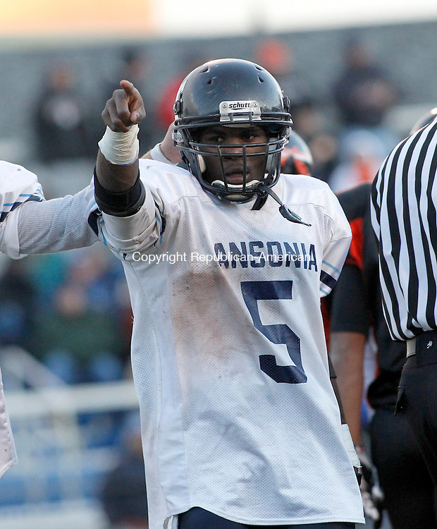 Middletown, CT- 04, December 2010-120410CM15 NEWS ACTION MAN Ansonia's Montrell Dobbs rushed for 362 yards and had 6 touchdowns helping lead his team to the Class S state final game  Ansonia defeated Montville 46-15, advancing to the Class S State Final game. Christopher Massa Republican-American