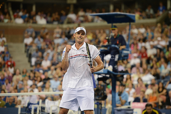 FLUSHING NY- AUGUST 31: Andy Roddick celebrates his victory over Benard Tomic on Arthur Ashe stadium at the USTA Billie Jean King National Tennis Center on August 31, 2012 in in Flushing Queens. mpi04 / Mediapunchinc