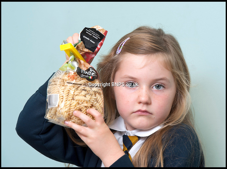 BNPS.co.uk (01202) 558833<br /> Picture: LauraJones/BNPS<br /> <br /> Evil weevils!<br /> <br /> Amelia O'Shea (5) at her home in Bournemouth, Dorset, upset she cant eat the Italian fusilli pasta from Tesco because it contains Weevils.<br /> <br /> A mum preparing her children's dinner got the shock of her life when she opened a packet of pasta and hundreds of black bugs crawled out.<br /> <br /> Hayley O'Shea, 39, was about to cook the fusilli for a tuna pasta bake when she found the infestation in the sealed one pound packet from Tesco.<br /> <br /> Upon discovering the swarm of insects she resorted to the internet and identified them as weevils - tiny creatures from the beetle family.
