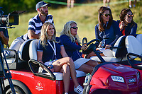 Paulina Gretzky and Dustin Johnson (USA) watch Phil Mickelson (USA) putt on 16 during round 1 foursomes of the 2017 President's Cup, Liberty National Golf Club, Jersey City, New Jersey, USA. 9/28/2017.<br /> Picture: Golffile | Ken Murray<br /> ll photo usage must carry mandatory copyright credit (&copy; Golffile | Ken Murray)