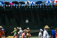 PINEHURST, NC - JUNE 15: Umbrellas cast noon day shadows on the 18th hole grandstand. Scenes from the U.S. Open Championship at Pinehurst, North Carolina on Sunday, June 15, 2014. (Photo by Landon Nordeman)