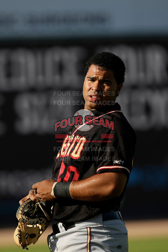 May 31 2009: Wilin Rosario of the Modesto Nuts before game against the Lancaster JetHawks at Clear Channel Stadium in Lancaster,CA.  Photo by Larry Goren/Four Seam Images