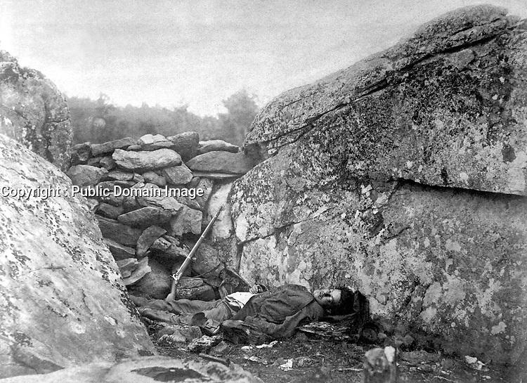 The Home of a Rebel Sharpshooter, Gettysbury, July 1863.  Alexander Gardner. (War Dept.)<br /> Exact Date Shot Unknown<br /> NARA FILE #: 165-SB-41<br /> WAR & CONFLICT BOOK #:  254