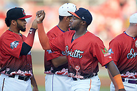 Ronnie Dawson (20) of the Buies Creek Astros during player introductions prior to the start of the 2018 Carolina League All-Star Classic at Five County Stadium on June 19, 2018 in Zebulon, North Carolina. The South All-Stars defeated the North All-Stars 7-6.  (Brian Westerholt/Four Seam Images)