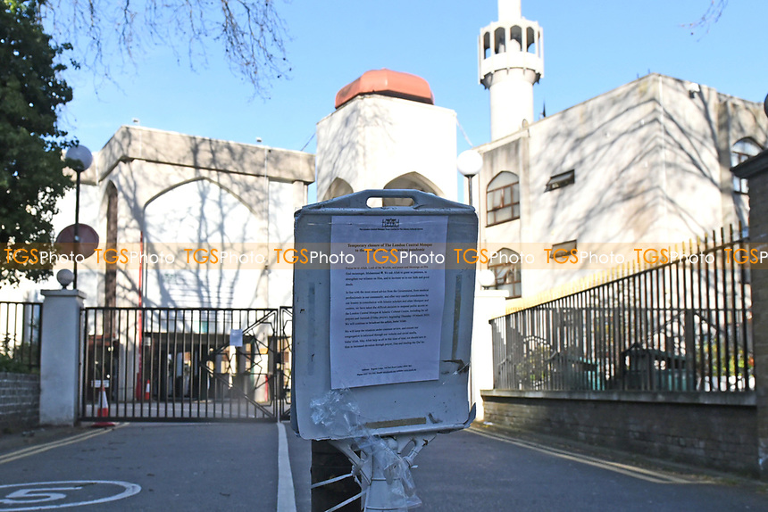 The temporary closure of The London Central Mosque. The deserted streets show the severe effects of the COVID-19 epidemic on London on 23rd March 2020
